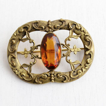 Antique Art Nouveau Amber Brown Glass Stone Brooch - Huge Statement Flower Vine Costume Jewelry Pin