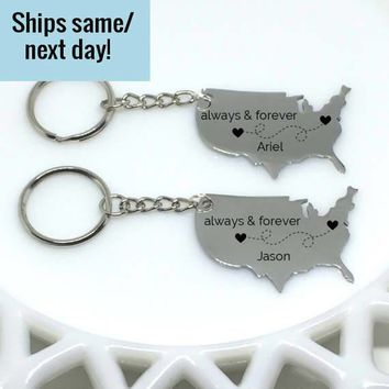 Boyfriend Gift, Long Distance Relationship, Long Distance Friendship, Engraved Keychain, Long Distance Keychain, United States Keychain