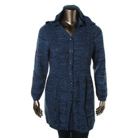 Style & Co. Womens Plus Cable Knit Marled Sweatercoat
