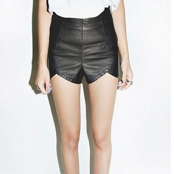 JECKSION European style Women Slender Lmitation Leather Summer Jag Small Shorts
