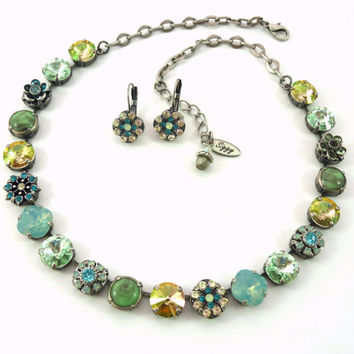 TAHITI Swarovski crystal necklace-12mm Pacific opals, gorgeous greens and flower accents, Siggy ISLAND collection