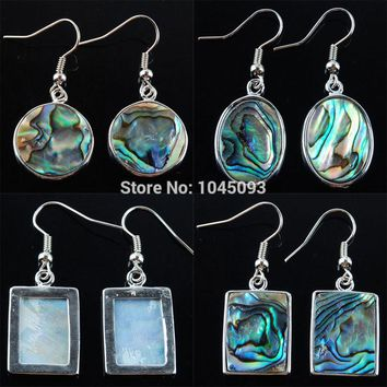 YOWOST Free shipping New Zealand Abalone Shell Oblong Oval Round Beads Dangle Earrings 1 Pair Jewelry QBR300