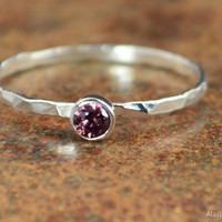 Dainty Silver Alexandrite Ring