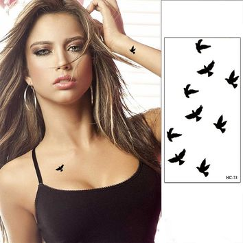 3 Pcs Wrist Flash Tattoo Fake Tattoo Black Birds Painting 3D Waterproof Temporary Tattoo Sticker For Body Art Women Henna Tatoo