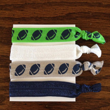 Seahawks Themed Elastic Hair Ties / Elastic Hair Ties / Hair Ties / Knotted Hair Ties / No Crease Hair Ties / Yoga Hair Ties