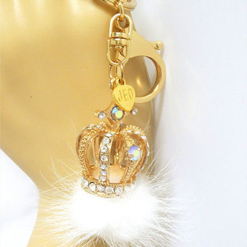 Personalized Initial Letters Crown Keychain, Crystal Queen Keychain, Bling Princess Crown Hair Ball Keychain/ Key fob/ Bag Chain