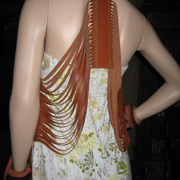 Brown Leather Fringed Vest,  Bohemian Country Clothing, BOHO  Art to Wear by Vacationhouse