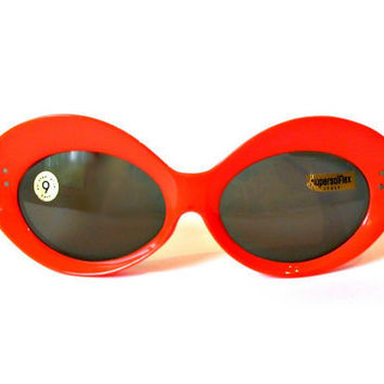 60s Orange Mod Sunglasses, 1960s Jackie O Sunglasses, Italian New Old Stock by Supersolflex