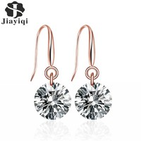 Jiayiqi(Jiayiqi) Women Jewelry 2017 Fashion Handmade Stud Earrings in Copper with AAA Round Simulated Crystal For Women Jewelry