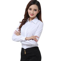 Brand New Fashion White Blouse Shirt Women Work Wear Long Sleeve Blusas Tops Slim Ladies Office Blouses Shirts  H2
