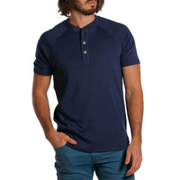 Puremeso Heathered Short Sleeve Henley in Navy by The Normal Brand