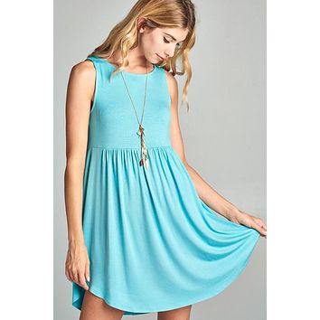 Simple Tank Style Dress - Aqua