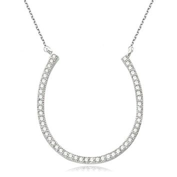 Bella Fashion 925 Sterling Silver Lucky Horseshoe Bridal Necklace