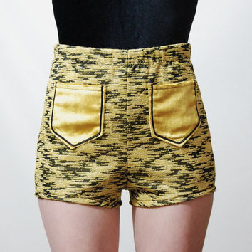 GOLD Metallic SHORTS Handmade Highwaisted Hot Pants Velvet Pockets Bohemian Hippie Vintage Fabric XS