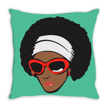 Funk Diva with Afro Throw Pillow