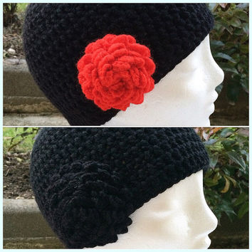 Black beanie hat,Black women hat,Black women beanie,Changeable flowers,Women chunky beanie,Woman winter hat,Black chunky hat,Hat with flower
