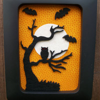"""Spooky Bat & Owl Halloween 3D wall Table Top Free Standing Decoration, 4"""" x 6"""", One of a Kind, Handmade"""