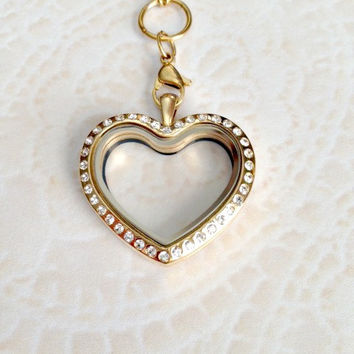 Gold heart Memory locket with crystas stainless steel and choice of chain
