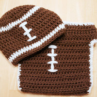 Baby Football Outfit, crochet football hat and football diaper cover, Newborn football outfit, crochet football uniform, Newborn to 12 Mos.