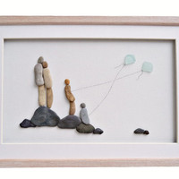 Family wall art, New home housewarming or anniversary gift idea, Pebble art family and flying kites, Nursery decor, Family framed art gift