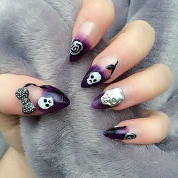 Doobys Stiletto Nails - Gothic Love - 24 Hand Painted Nails skeleton skull purple gothic nails