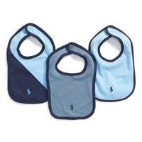 Infant Boy's Ralph Lauren Logo Embroidered Bibs - Blue (3-Pack)