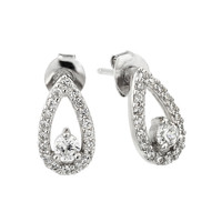 Sterling Silver Rhodium Plated Pear Cluster Earrings