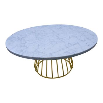 Alessia Coffee Table - Carrara Marble Top & Gold Base
