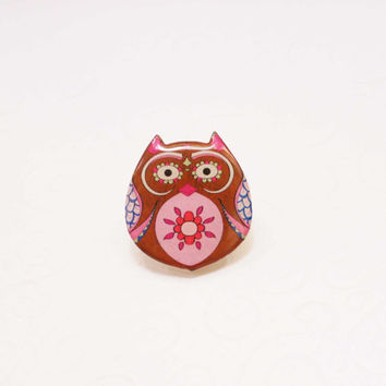 Free shipping Brooch - animal brooch-Colored owl, Christmas sale, gift under 25