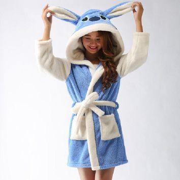 New Plush Robe Adult Animal Blue Stitch Pajamas Long Sleeve Lovely Sleepwear Bath Robes Night Gowns For Women Bathrobe