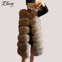 Ellacey High Quality Winter Warm Luxury Faux Fur Coats Lady Fox Artificial Fur Vest Shaggy Women Coat Female Outwear Plus Size