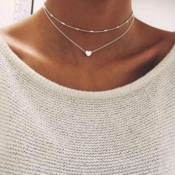 2017 Simple Love Heart Choker Necklace For Women Multi Layer Bea 0d42ab53b442