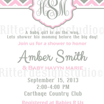 Chevron Monogram Pink Grey Baby Shower Invitation - Printable