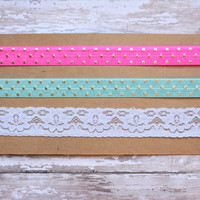 Elastic Headband Set, Lace Headband, Polka Dot Headband, Pink, Turquoise, Lace, Baby Headbands, Kids Headbands, Adult Headbands, Choose Size