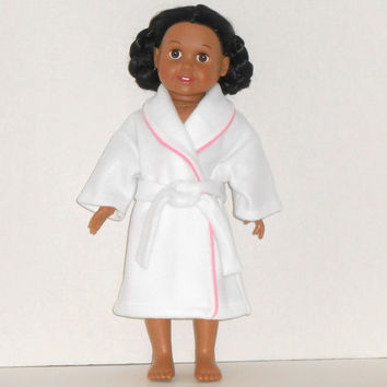 American Girl Doll White Fleece Robe with Pink Trim fits18 inch Dolls