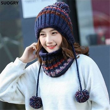 2pcs/Set New Big pom poms Ball Knitted Cap Hats Scarf Hat Set Winter Women Beanie Hat Thick Skullies Female Cap