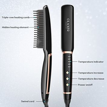 OLAXER Ceramic Flat Iron Hair Straightening Brush Comb Straightener Hot Brush with 5 Heat Settings