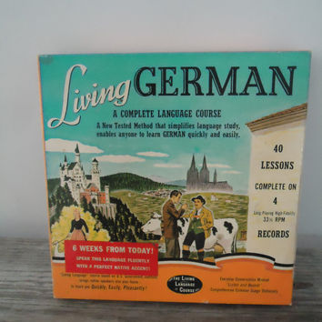 1956 Living German Language Course 40 Lessons on 4 LP 33 1/3 Records Manuals Dictionary