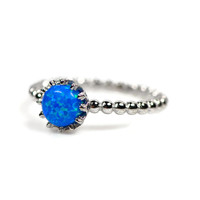 Sterling Silver Small Round Blue Opal Crown Ring