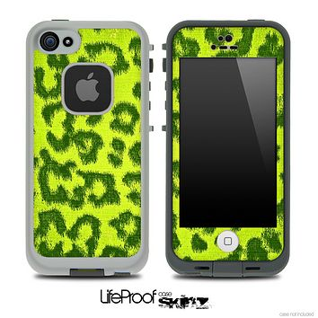 Cheetah Animal Print Bright Green Skin for the iPhone 5 or 4/4s LifeProof Case