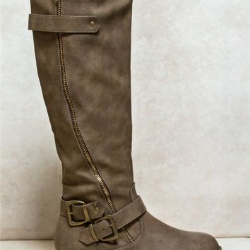 Asymmetrical Zip Riding Boots