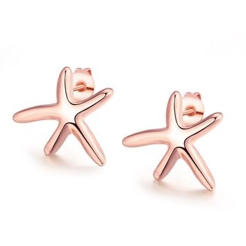 18K Rose Gold Plated Starfish Studded Earring