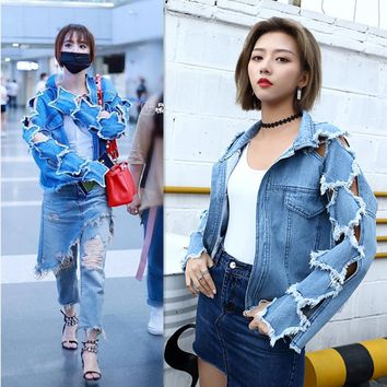 Autumn Women Turn-Down Collar Denim Jacket Ladies Unique Frayed Hollow Out Long Sleeve Loose Coats Outwear
