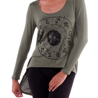 Olive Astrology Clock Tunic Casual Top with Cut Out