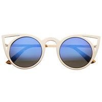 NYANE Gold Frame Laser Cut Blue Mirror Cat Eye Sunglasses at FLYJANE