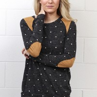 Polka Dots + Suede Patches L/S Knit {Charcoal}