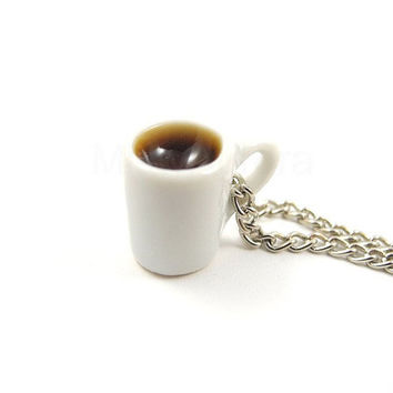 Coffee Mug Necklace - White Coffee Cup Chain Necklace - Tea Coffee Chocolate - Free Shipping Etsy