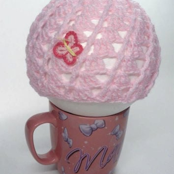 Baby Crochet Hat with Butterfly Applique in Pink by toppytoppy