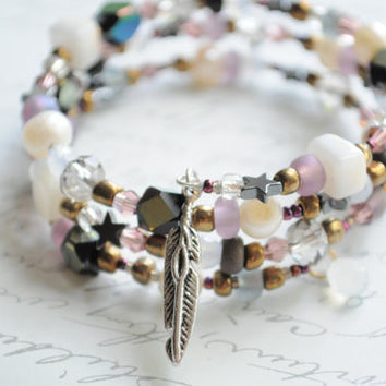 Dreamer-- Beach bangle beaded bracelet- Cultured pearls, czech glass, Japanese seed beads