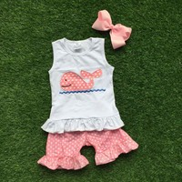 Whale Tank Ruffle Short Set